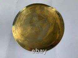 Ancienne patene en argent massif vermeil poinçon minerve calice ciboire silver
