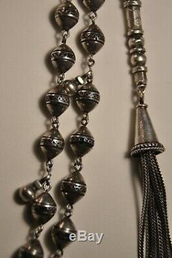 Antique Large Islamic Prayer Beads Solid Silver Chapelet Islamique Argent 110gr