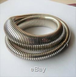 Antique Vintage Solid Silver Snake Necklace Ancien Collier Serpent Argent Massif