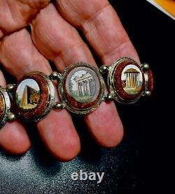 Antique micro mosaic silver bracelet / Bracelet Argent Micromosaiques