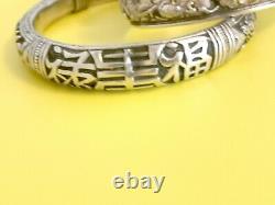Argent Massif Chine 2 Bracelets Chinese Export Silver Bracelet Dragon