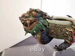 Argent Massif Chine Antique Chinese Export Silver Jade Enamel Ashtray