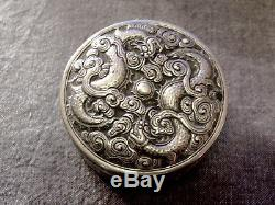 Argent Massif Chine Chinese Export Silver Dragon Box
