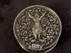 Argent Massif Chine Du Sud Chinese Export Silver Box 129 G