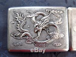 Argent Massif Chinese Export Silver Box Dragon Etui A Cigarettes Dragon Chine