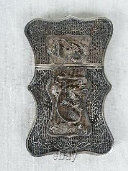 Argent Massif Etui Cartes De Visite Filigrane Chinese Silver Card Case
