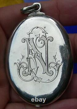 Art nouveau french SILVER SWALLOWS and NL MONOGRAM SLIDE LOCKET MIRROR PENDANT