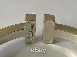 Authentic tiffany sterling silver T square bracelet T argent massif size small