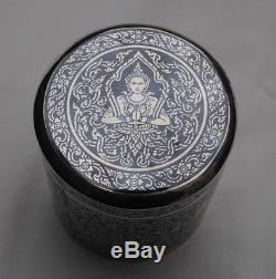 BOITE A THE / CIGARETTE ARGENT MASSIF NIELLE SIAM Sterling Silver Tea /Cigar Box