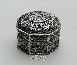 BOITE EN ARGENT MASSIF INDOCHINE / CHINE Sterling Silver Box Vietnam or China