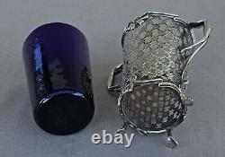 BOUQUETIERE Vase Argent Massif Ajouré Doublure Verre Bleu Dutch Silver XIXème