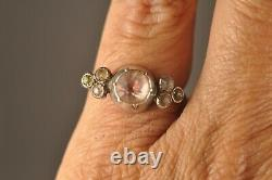 Bague Ancien Argent Massif XVIII Sur Paillon Antique Solid Silver Foiled Ring