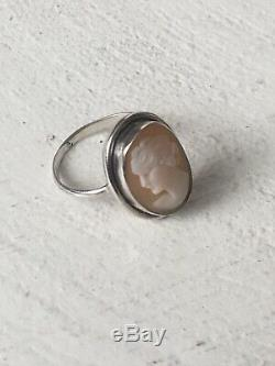 Bague Ancienne Camée NapoleonIII Argent Antique Victorian Silver Cameo Ring