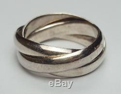 Bague Argent Massif 925 Type Cartier Trinity Taille 53 / 54 Sterling Silver Ring