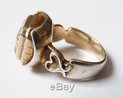 Bague ancienne en argent massif et citrine silver ring bijou ancien