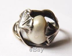 Bague anneau en argent massif signé DUMONT silver ring Art Nouveau 1900