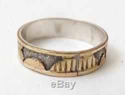 Bague anneau homme ARGENT et OR ancien Art inuit esquimaux silver ring