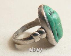 Bague chevalière ancienne en ARGENT et scarabée ancien Egypte silver ring