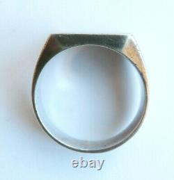 Bague chevalière ancienne en ARGENT massif Art Deco silver ring