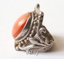 Bague en ARGENT et corail rose Bijou ancien silver ring fleur de lys