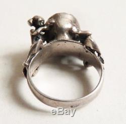 Bague en ARGENT massif et pierre rouge érotique femme nue Art Deco silver ring