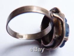 Bague en argent massif et scarabée en Lapis-lazuli silver ring bijou ancien