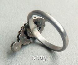 Bague marquise en argent massif et grenats garnet silver ring 19e siecle