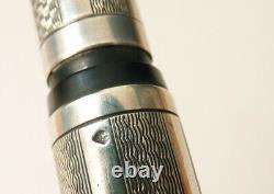 Beau stylo plume ARGENT massif + Bakélite plume OR ancien vers 1930 silver pen