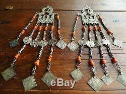 Bijou Ancien Fibule Broche Maroc Argent Corail Berbere Antique Moroccan Silver