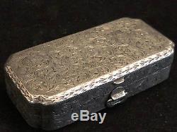 Boîte Argent Massif Necessaire Rouge à Lèvre Poudre Antique Box Silver