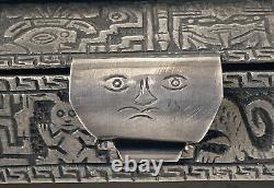 Boîte Coffret en Argent 925 Pérou & Incas Divinité Viracocha Antique Silver Box