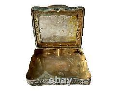 Boîte Gravée Argent 800 & Placage Malachite Travail Italien Antique Silver Box