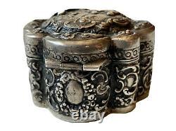 Boîte Pilulier en Argent Massif Scène à lAntique Personnages Antique Silver Box