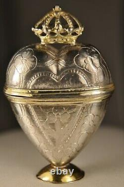 Boite Reliquaire Ancien Argent Massif Antique Solid Silver Reliquary Heart Box