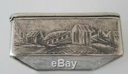 Boîte Tabatière ARGENT MASSIF Russe, Moscou Russian Silver snuffbox chiseled