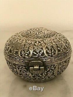 Boite à bijoux argent massif ottoman 19éme silver antique tugra david box arabic