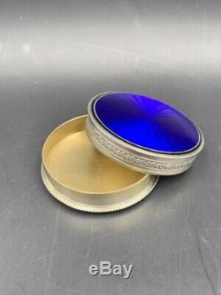 Boîte à pilules argent massif émail bleu XIXe Antique enameled silver pill box