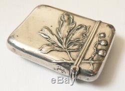 Boite allumettes pyrogène ARGENT silver vesta case Art Nouveau vers 1900