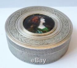 Boite argent massif + émail Art Nouveau vers 1900 silver box 93g signé
