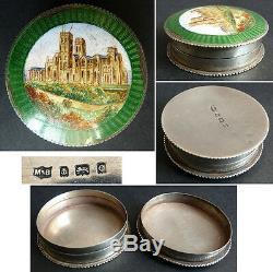 Boite argent massif et émail enamel silver box Marston & Bayliss Birmingham 1904