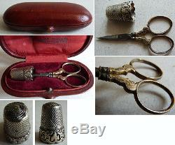Boite étui à couture paire de cisceaux dé à coudre ARGENT massif 19e s silver