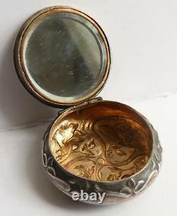 Boite poudrier ancien en ARGENT massif ART NOUVEAU silver box