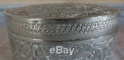 Boite ronde argent massif Perse Orient silver box