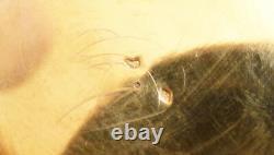 Boite ronde en vermeil ARGENT massif et émail 19e siècle silver box cygne