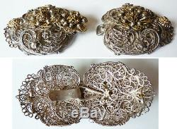 Boucle de cape manteau ceinture argent massif filigrane 19e silver buckle 71 gr