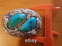 Boucle de ceinture en Argent massif turquoise turquose silver buckle 106g