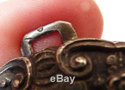 Boucle de ceinture en argent massif 19e siècle Indochine silver buckle