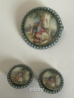 Boucles Doreilles En Argent Massif Peinture Miniature Nap III Silver Broche