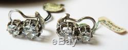 Boucles d'oreille clip dormeuses argent massif + zircon bijou silver earrings