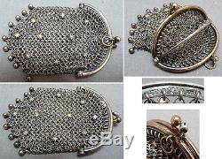 Bourse aumonière cote de maille argent massif Allemagne 19e siècle silver bag